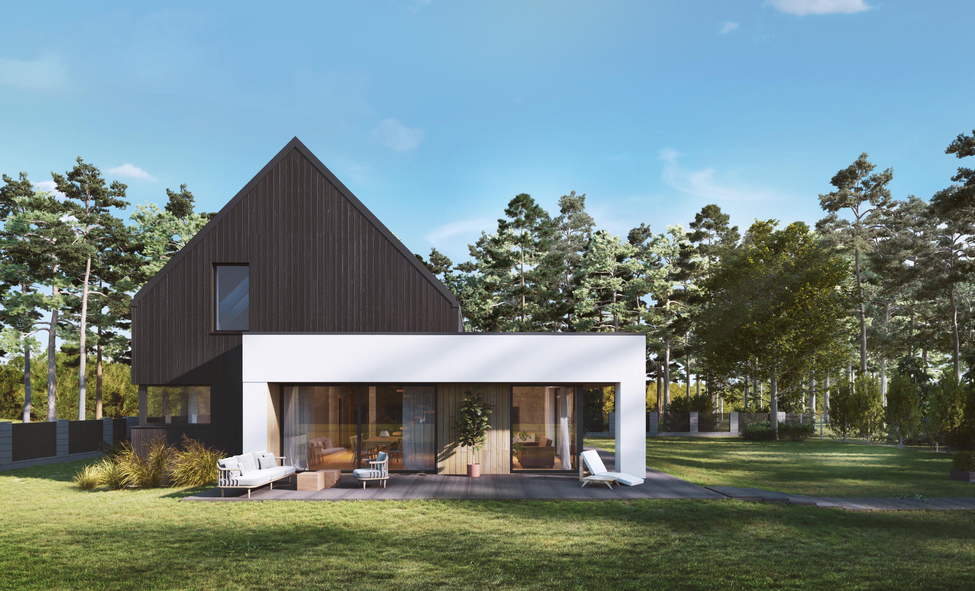 projekt domu nowoczesny stodoła, elewacja z drewna