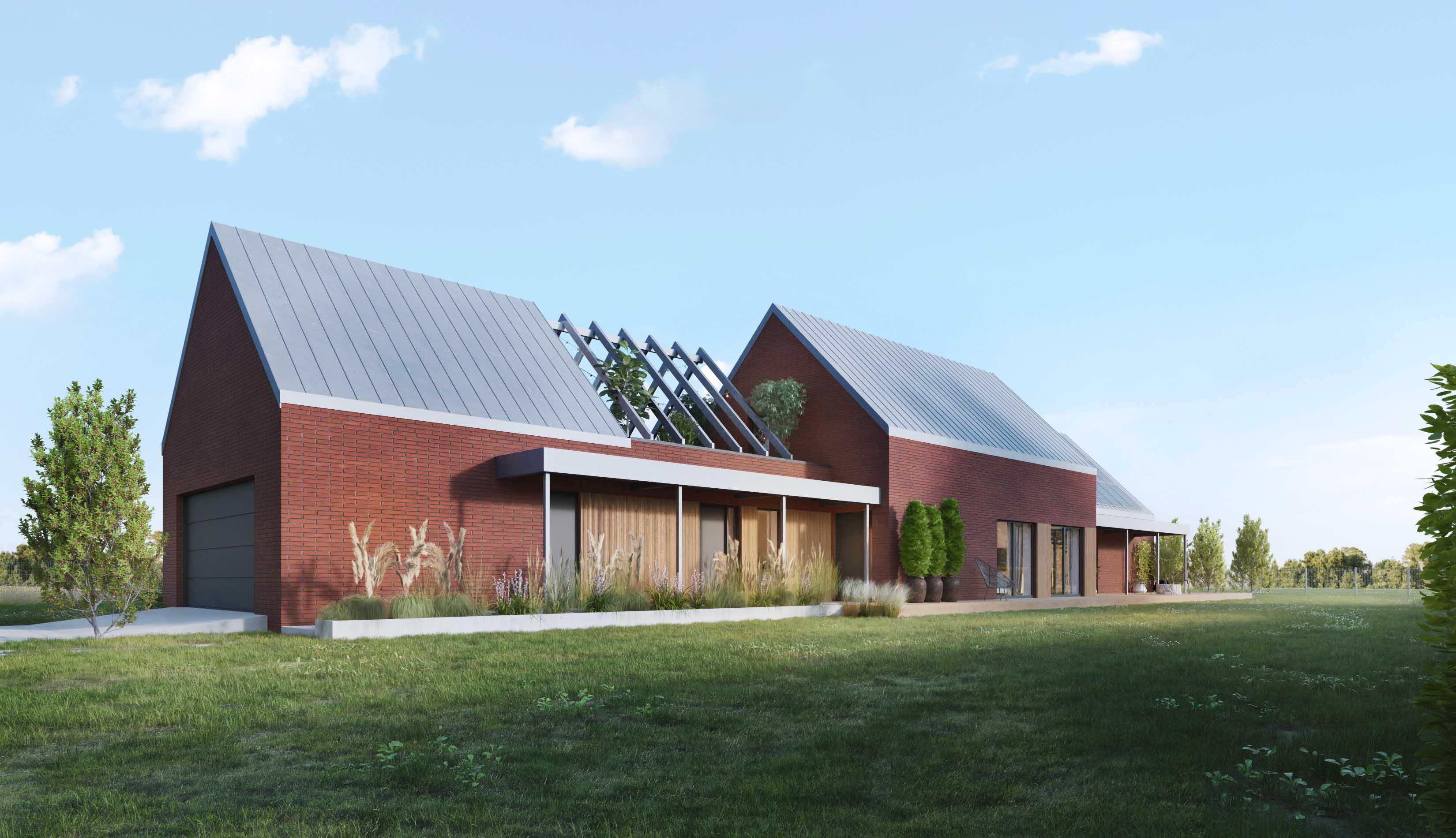 dom z cegły trzy stodoły