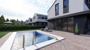projekt eksluzywnego osiedla domów nad jeziorem