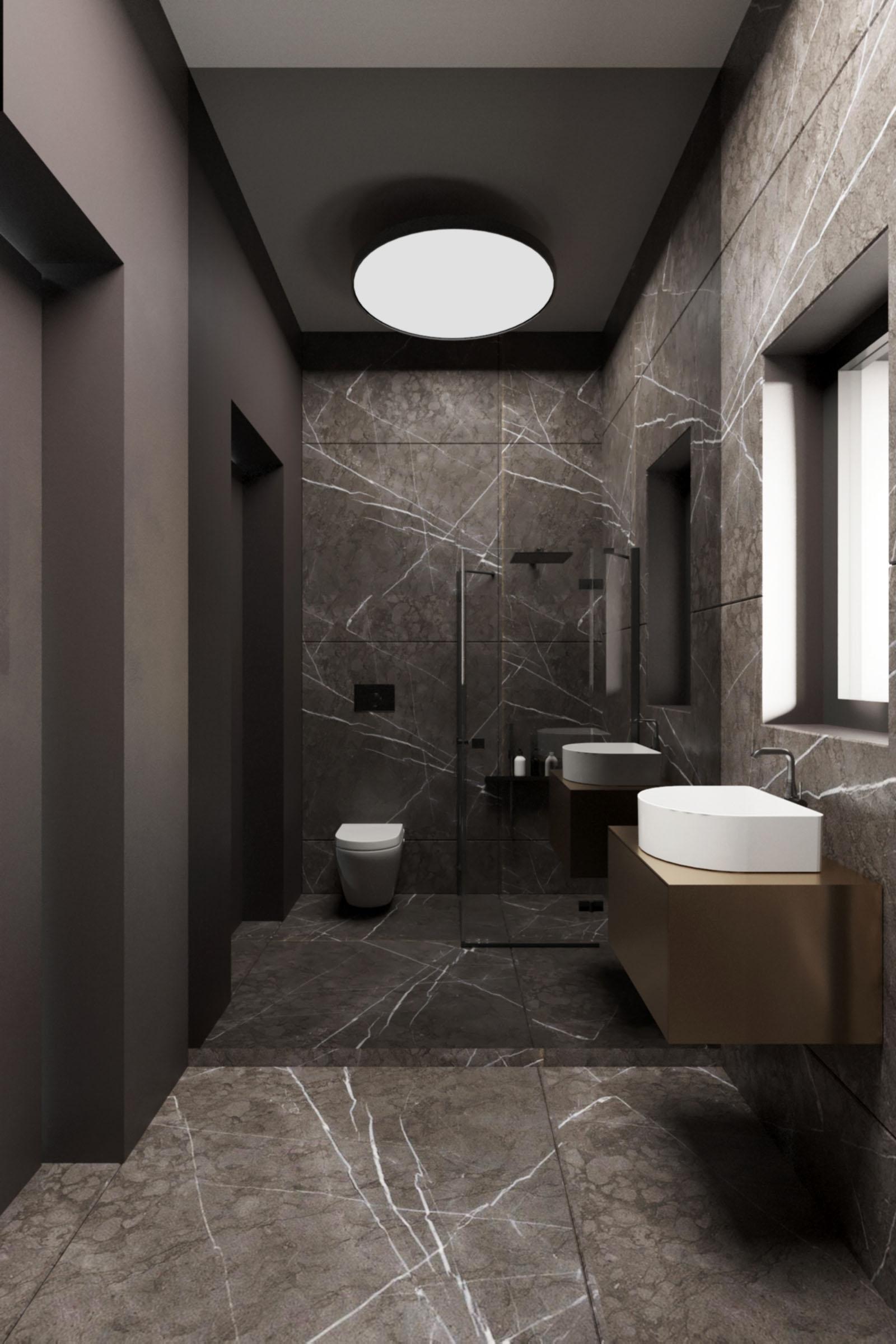 projekt ciemnej łazienki wnętrze