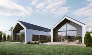 projekt nowczesnego domu - dwie połączone stodoły