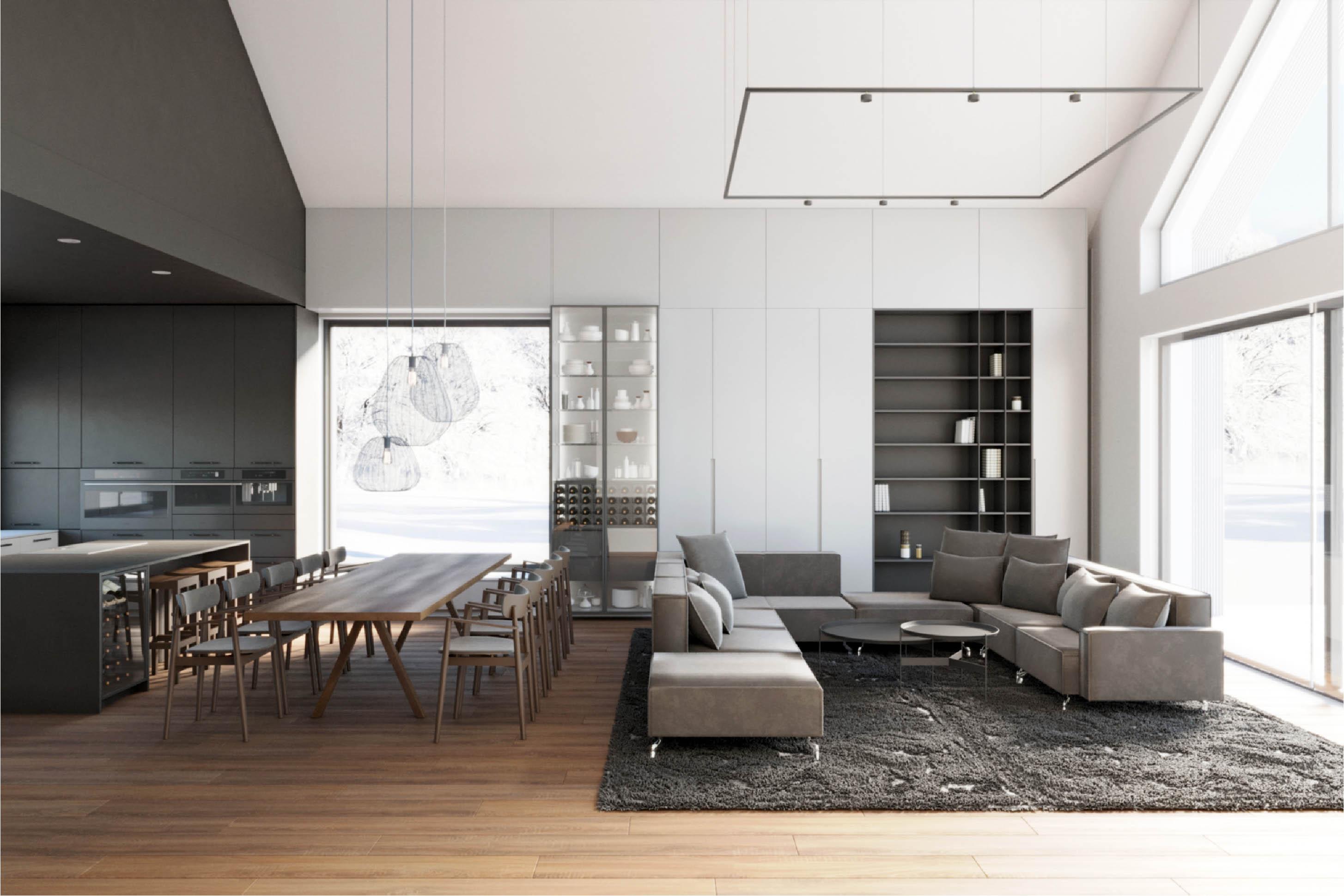 projekt wnętrza salonu z antresolą